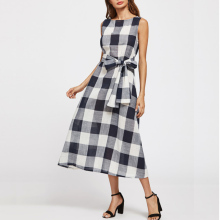 Classic Retro Ladies Sleeveless Tartan Maxi Dress with Knot Waist Belt