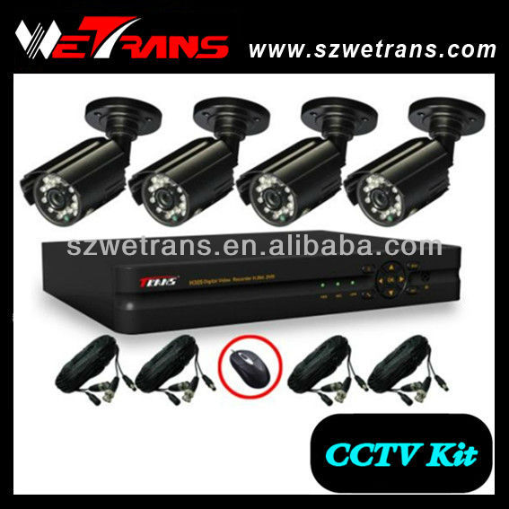 WETRANS CCTV-KIT5204B 420TVL 4CH CCTV Analog System, Camera and DVR, Economical Mini DVR Watch Camera
