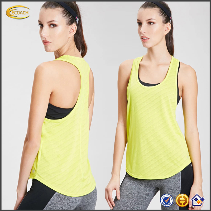Ecoach Wholesale New arrival sport wear Breathable womens mesh sleeveless vest 2016 Athletic custom Striped Running Tank top gym