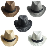 Men Women Striped Straw Cowboy Western Wide Brim Panama Hat Summer Cap