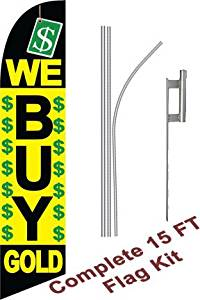 """NEOPlex - """"We Buy Gold B/Y/GN"""" Complete Flag Kit - Includes 12' Swooper Feather Business Flag With 15-foot Anodized Aluminum Flagpole AND Ground Spike"""