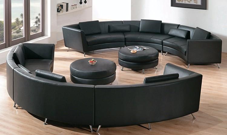 2018 Latest Design Italian Style Genuine Leather Sectional Round Sofa Furniture Living Room Set