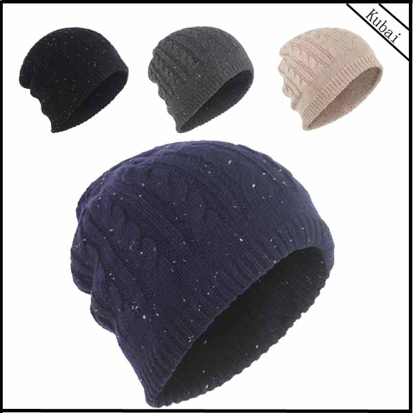 Thick Cable Knit Beanie with Splashing Dots Beanie Hat Pattern Skull Ski Hat