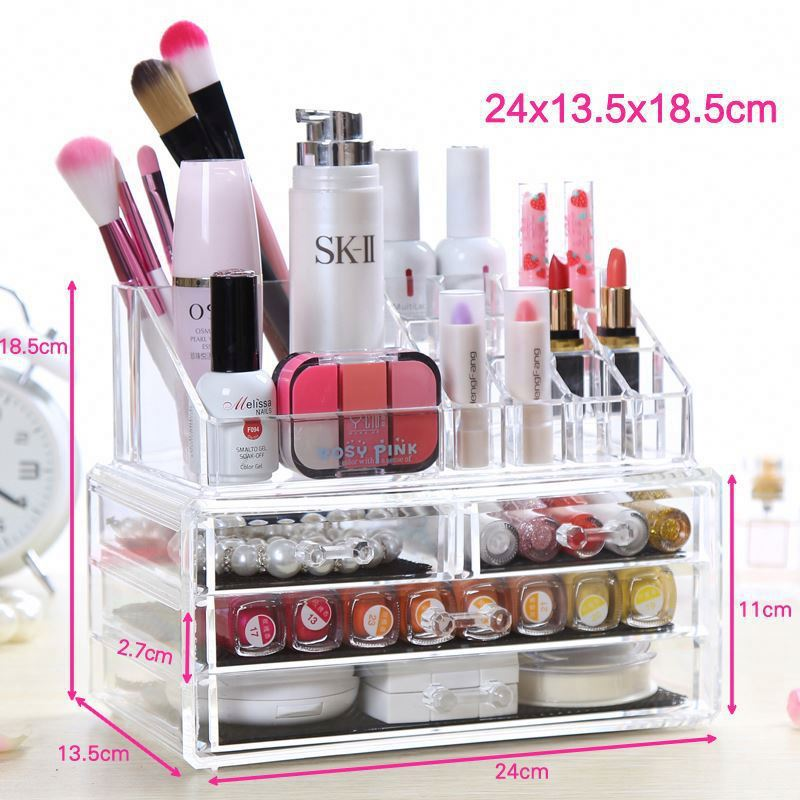 Storage Box Clear Acrylic Qtip Holder Box Cotton Swabs Stick