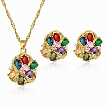 European 24k Gold Zircon Necklace Earrings Luxury Directly Wholesale