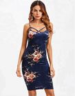 A3753 Floral crushed spaghetti strap velvet bodycon fit boutique dress