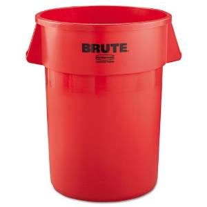 Rubbermaid Commercial Brute Refuse Container, Round, Plastic, 44 gal, Red - Includes one each.