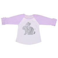lavender ruffle sleeve Easter rabbit ruffle raglan shirt kids girl clothing