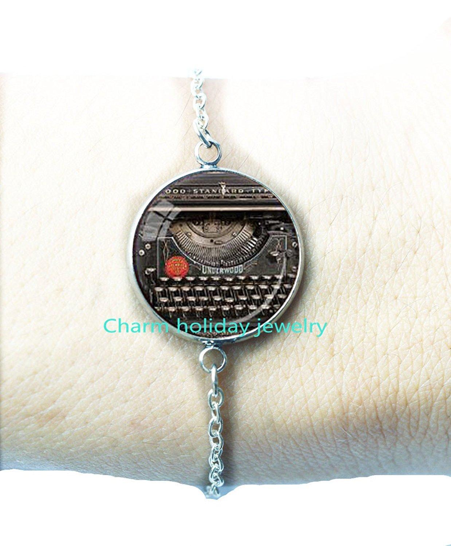 Charming Typewriter Bracelets Writer Gift for Writer Typewriter Jewelry Writer's Bracelet Black Red Gray Charming Keyboard Jewelry Writer's Gift.D-0001