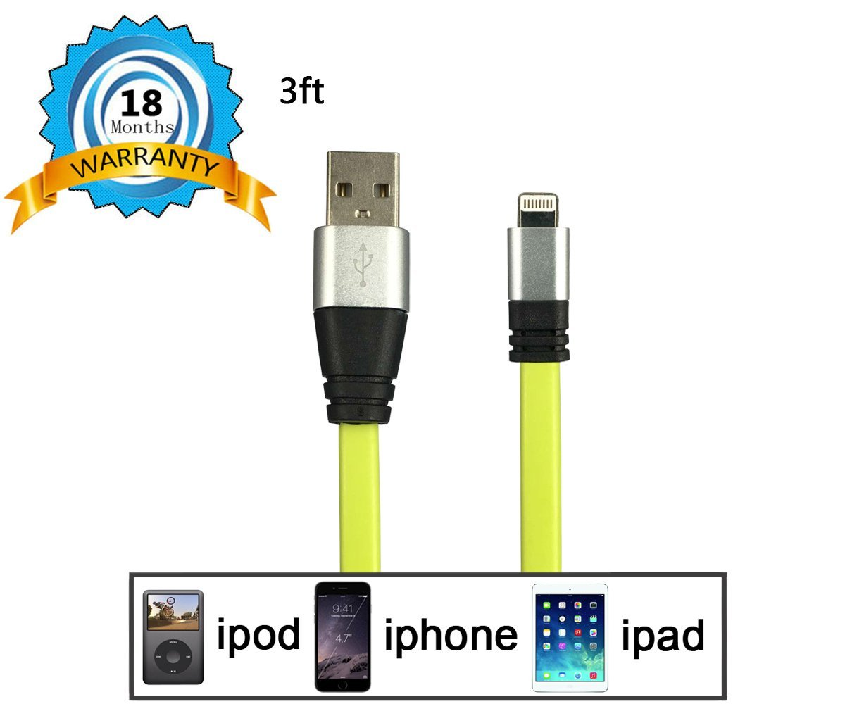 iPhone Cable, Yellow Flat Noodle 8 Pin Lightning to USB Cable HV Sync Charger Cord IOS Connector Charge Compatible For iphone, ipad, ipad Air, ipad Mini, ipad Pro and many more.