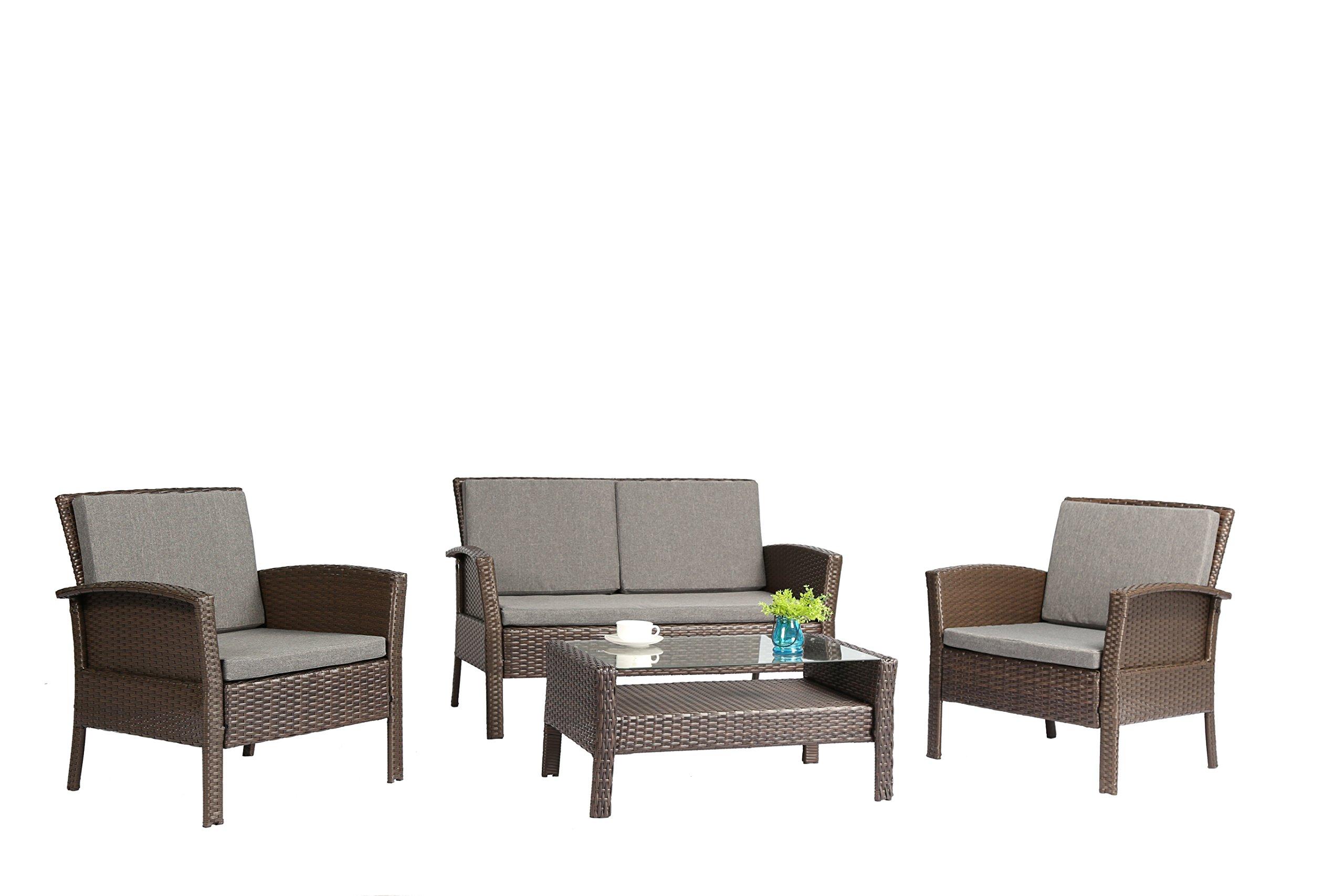 2c326bbf838c Baner Garden Outdoor Furniture Complete Patio 4 Piece Polyethylene Wicker  Rattan Garden Set, Brown (