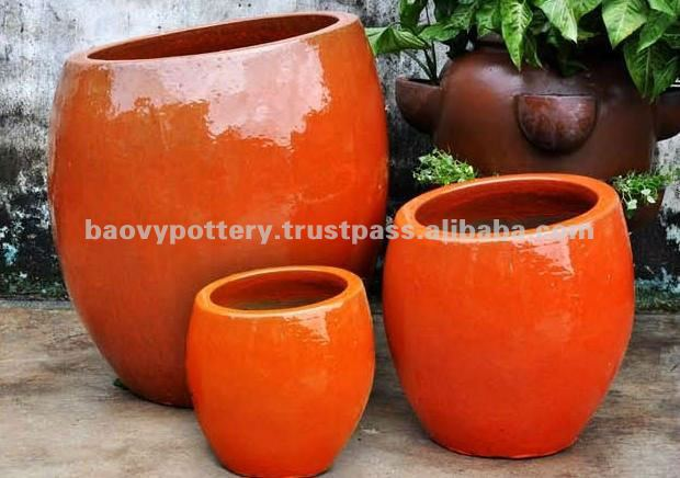Round Glazed Ceramic Planter In Orange