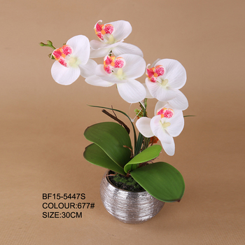 Chinese Factory Artificial Orchid Plant In Silver Ceramic Pot