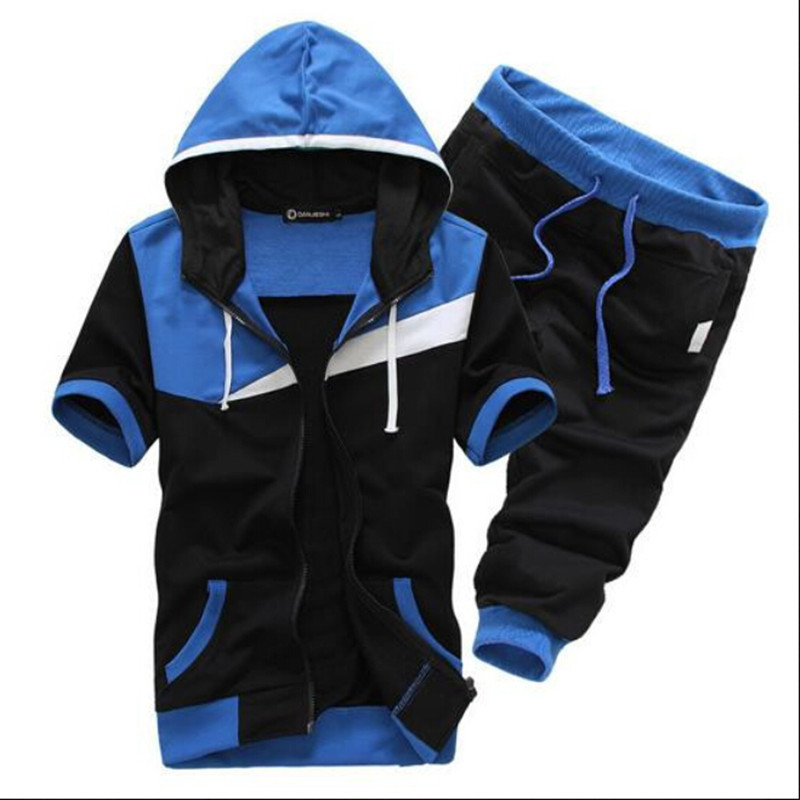 Summer Style Sports Men's Suit 2015Casual Sport Suit Men Slim Cardigan Hooded Sweatshirt Shorts Sets Hit Color Moleton Masculino