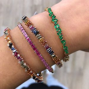 gold plated fashion jewelry 2019 latest new design colorful baguette cubic zirconia cuff bangle for lady