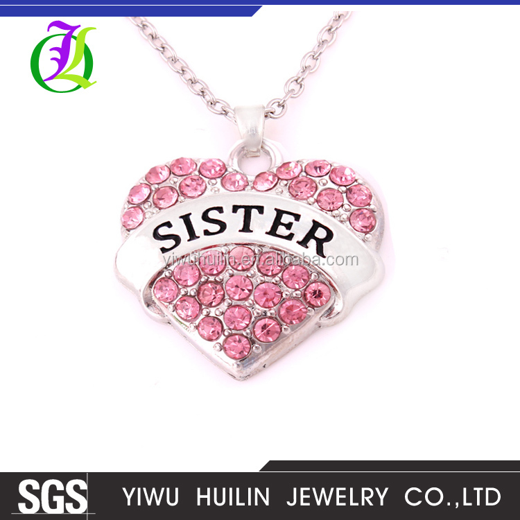 A500309 Yiwu Huilin Jewelry Best Gift SISTER heart Silver Plated colorful Crystal With Lobster Clasp Wheat long chain necklace