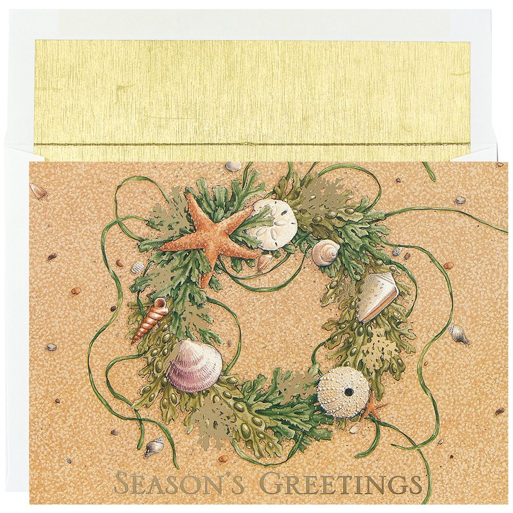 """Great Papers! Holiday Greeting Card, Beach Wreath, 18 Cards/18 Envelopes, 7.875"""" x 5.625"""" (4823)"""