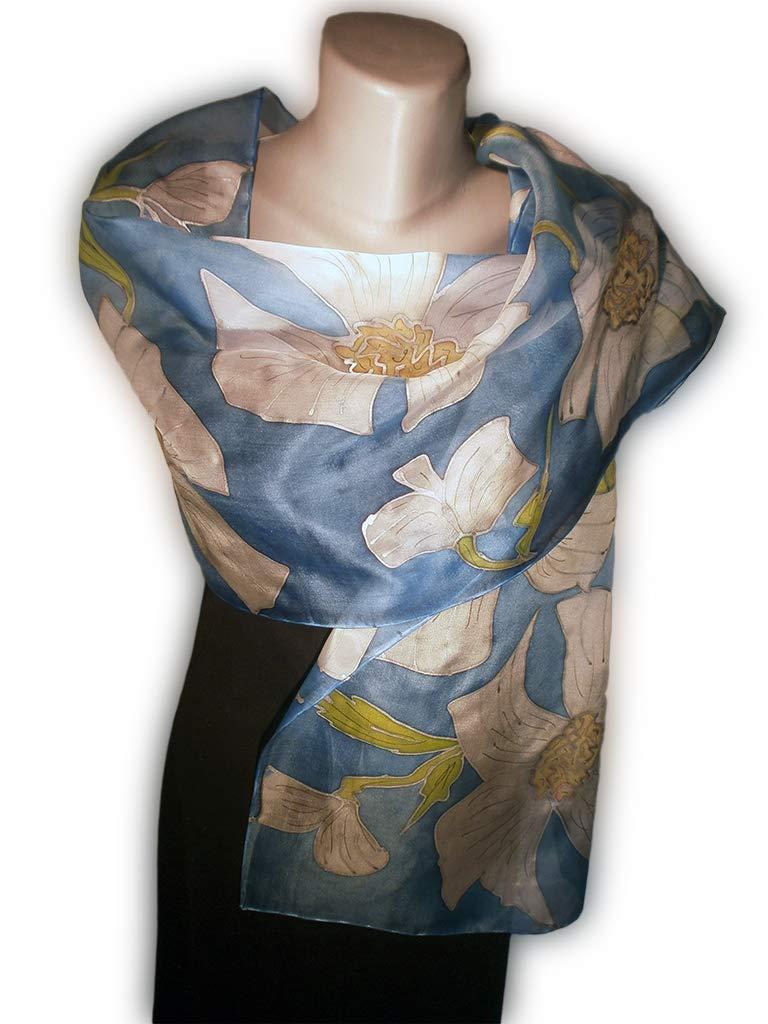 CALMNESS Hand-Painted Silk Scarf, Woman Silk Scarf, Pure Silk Shawl, Wrap, Scarf painted by hand