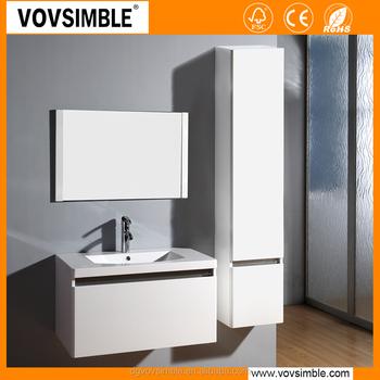 Simble Brand White Waterproof Bathroom Cabinet High Glossy Wall Mounted Vanity