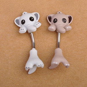 Wholesale Kawaii Small Elephant Navel Belly Button Rings Enamel Creative Bar Stainless Steel body jewelry piercing
