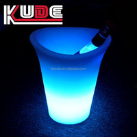 Factory supply plastic cheap LED Ice Bucket/small clear LED rechargeable flashing champagne ice bucket