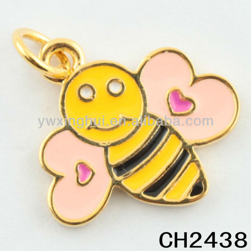 2014 new products zinc alloy gold pink and yellow enamel bee charms wholesale