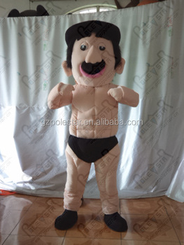 black hat muscle man mascot costumes