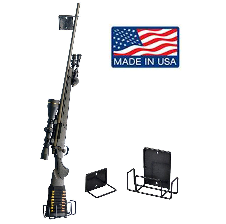 Oak and Metal 2 Place Gun Rack Rifle Shotgun Wall Mount Display Handmade In USA