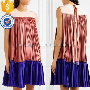 Color-Block Pleated Satin-Twill And Crepe De Chine Mini Women Dress OEM/ODM Women Apparel Clothing Garment Wholesaler
