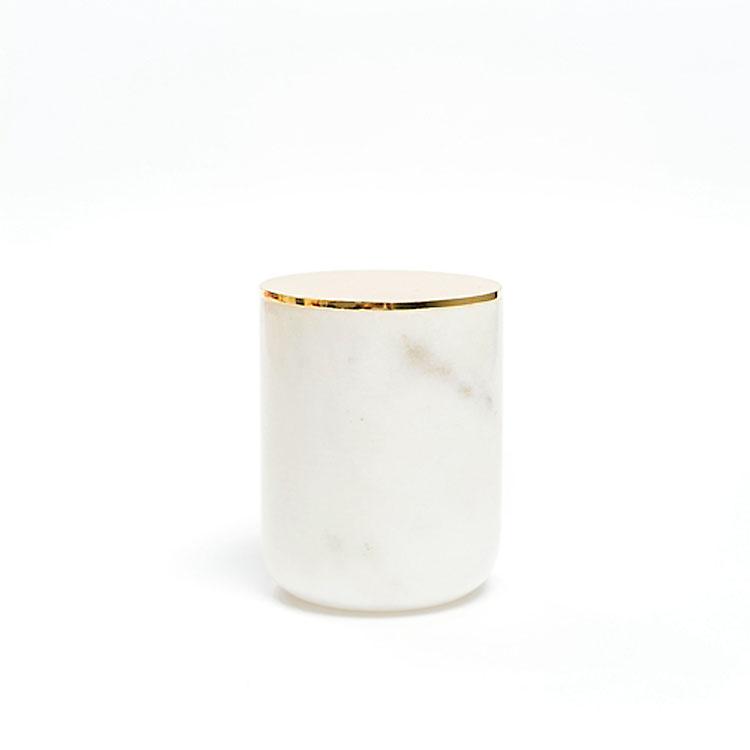 Toptan yeni boş beyaz mermer kaplar mum kavanozu tutucu toplu mum yapımı için altın kapaklı