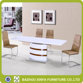 Hot Sale High Gloss White Lacquer Painting Conference Dining Table With  Leather Chairs