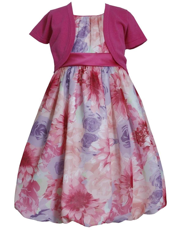 514316bf2eeb1 Get Quotations · Bonnie Jean Big Girls Plus Floral Chiffon Bubble Dress Jacket  Set