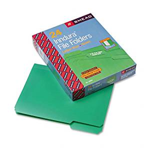 Smead : Waterproof Poly File Folders, 1/3 Cut, Top Tab, Letter, Green, 24/Box -:- Sold as 2 Packs of - 24 - / - Total of 48 Each
