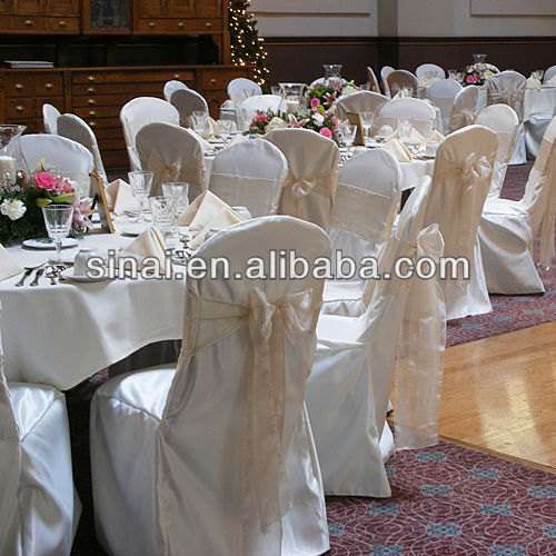 Factory Price Popular Wedding Chair cover / White Satin Chair Cover