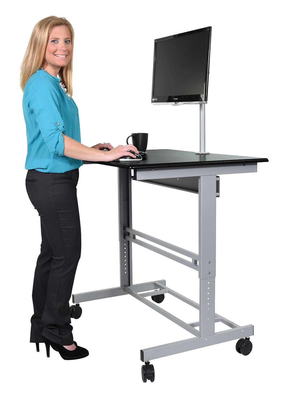 "48"" Stand Up Desk w/FREE Monitor Mount (Black Shelves/Silver Frame)"