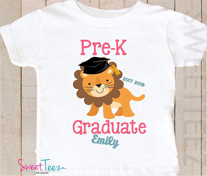 078e76938a Get Quotations · Pre-K Graduation Shirt Personalized Toddler Shirt Preschool  Graduation Shirt Gift Lion Kids