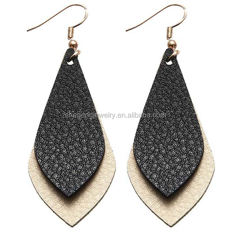 Vintage Boho Genuine Leather Teardrop Leaf Earrings Dangle Pierced Earrings