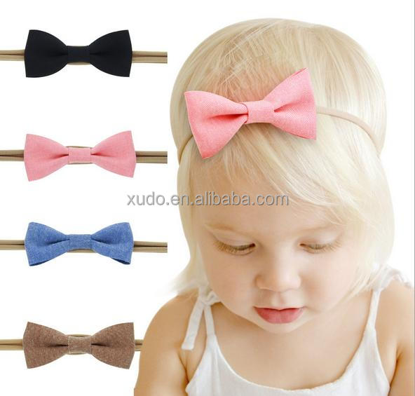 kids/babies new soft nylon <strong>headband</strong> bow <strong>headband</strong> manufacturer 4 colors in stock