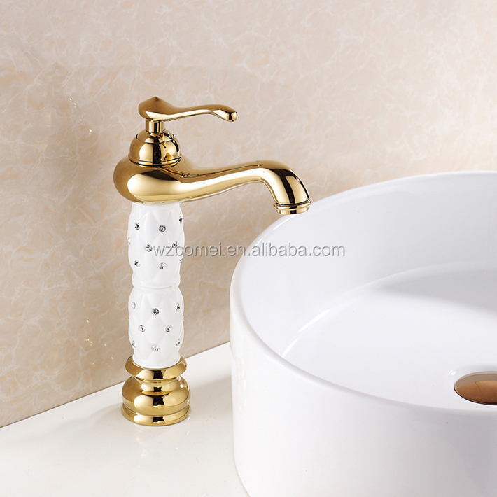 FLG gold finishing bathroom faucet with pineapple diamond