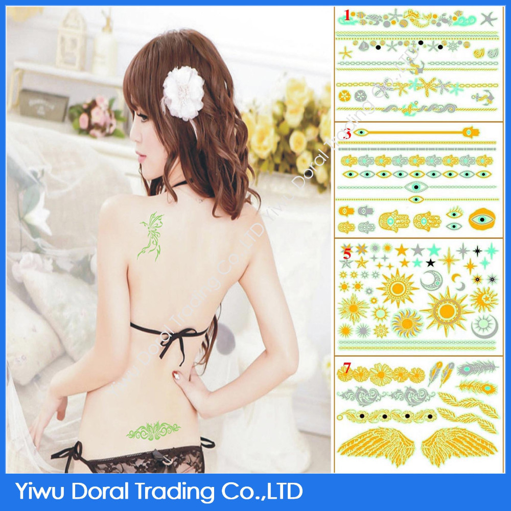 Wholesale Custom Tattoo Supply Golden Luminous Tattoo Sticker Temporary Tattoo Sticker