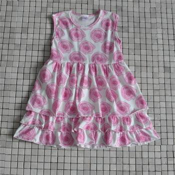 46291d4e18856 Toddler Girls Rose Flower Frock Design Tiered Dress Valentine's Boutique  Clothing Wholesale