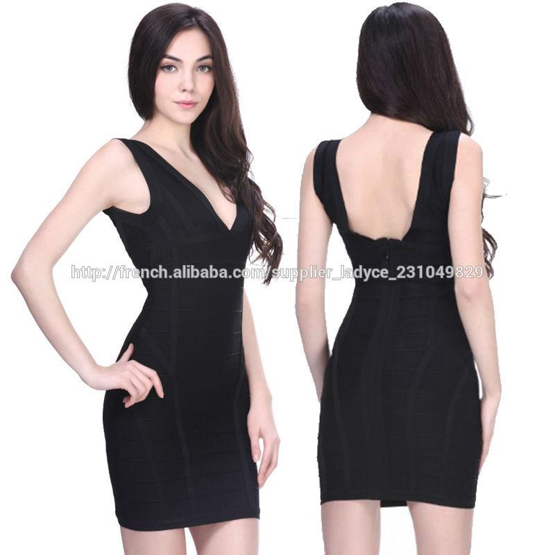 fd178078be0 élégant col en V des femmes sexy courte moulante robe de soirée noire