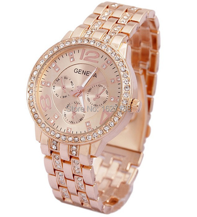 2015 New Arrival Women Watches, women dress watches Gold Geneva Brand Steel Watches, Fashion Men Quartz watch,Free shipping