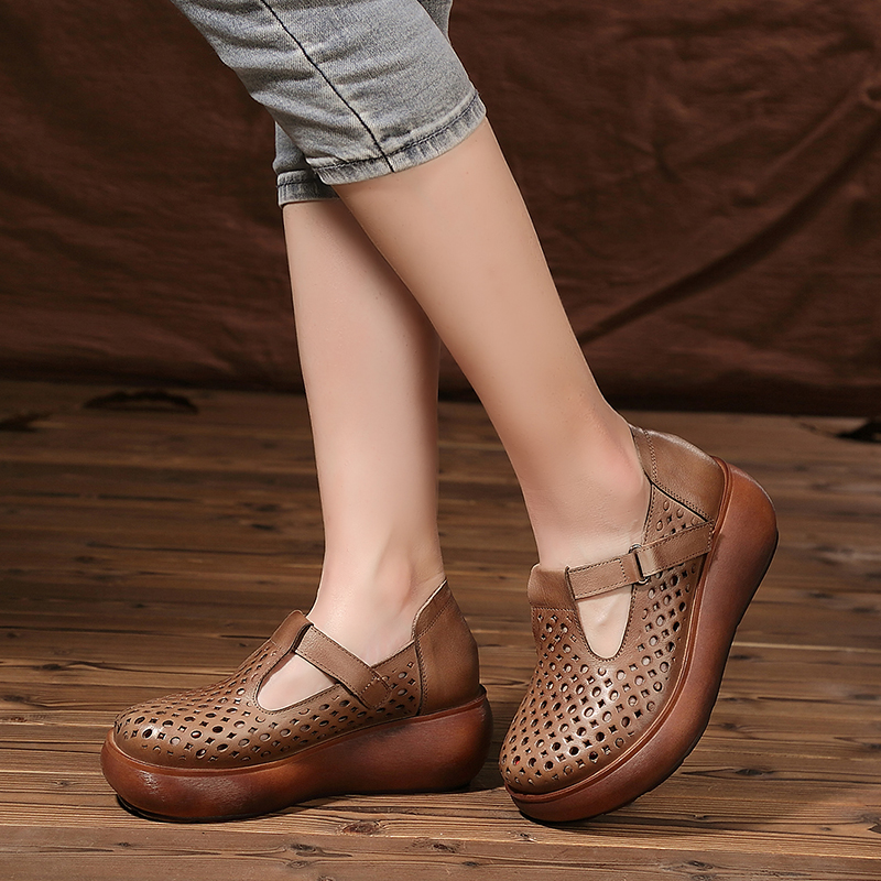 2017 product casual women shoes new shoes leather sandals platform breathable genuine flat zdqq4R
