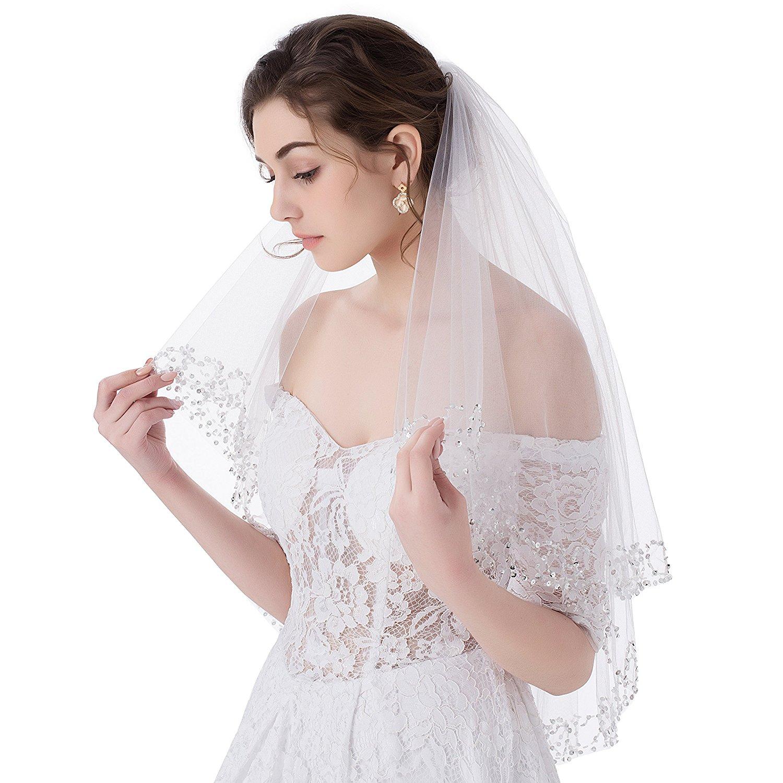 MariRobe 2T Beading Tulle Sequins Edge White/Ivory Wedding Veils with Comb