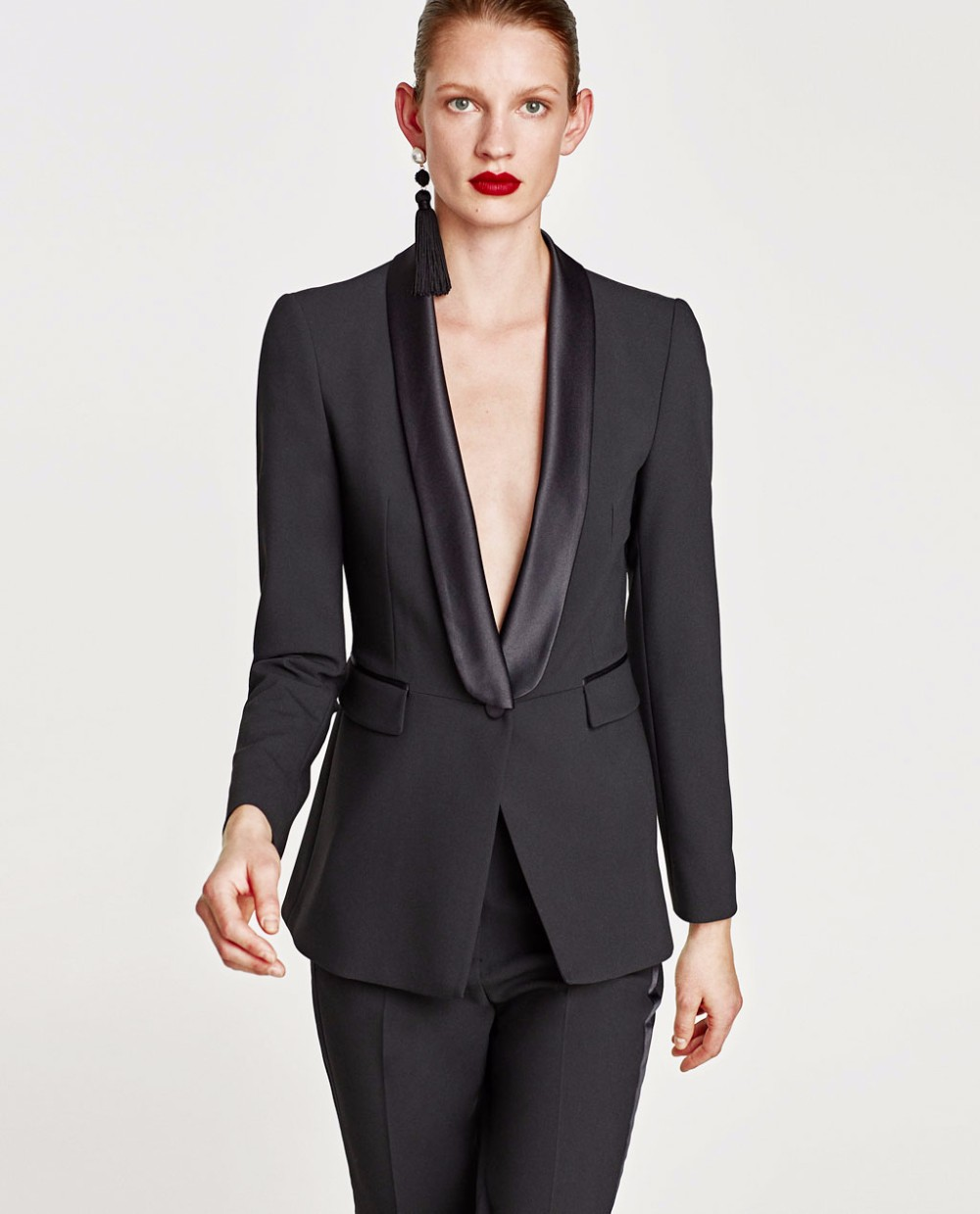 2018 Trending Products Fashion Fancy Ladies Black Slim Fit Office