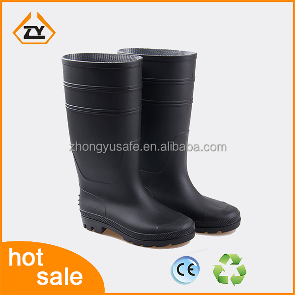 2016 black Gardening farming fishing construction pvc safety rain boots with steel toe/plate gumboots