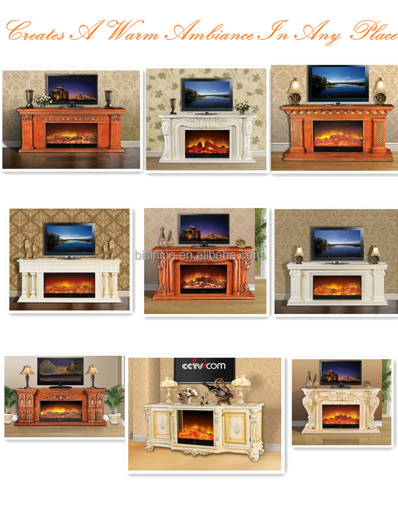 Antique Wooden Fireplace Mantel Tv Stand Decorative Electric Firebox