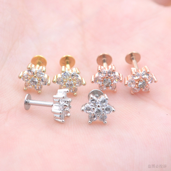 Tiny Crystal Cz Flower Labret Barbell Studs Lip Monroe Cartilage Tragus Piercing Earring Piercing Jewelry Buy Earring Piercing Jewelry Monroe