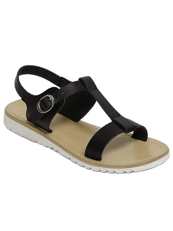 Pazitos Girls Black T-Bar Buckled Ankle Strap Trendy Sandals 12.5-4.5 Kids
